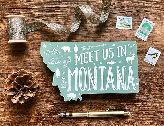 Die cut Montana Save the Date