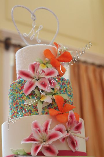 Sprinkled wedding cake
