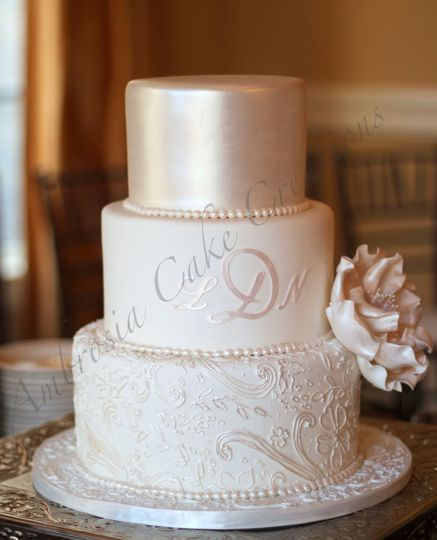 Wedding cake with rose gold top layer