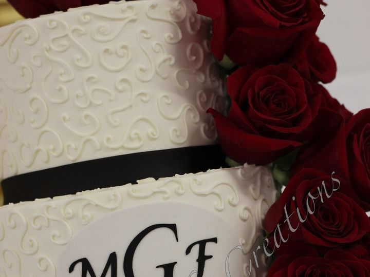 Tmx 1378780228508 Rsz1cascadingrosesweddingcake Fuquay Varina, North Carolina wedding cake
