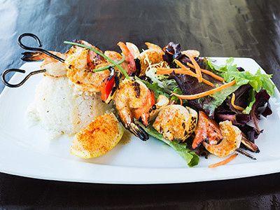 cajun prawns coconut rice salad