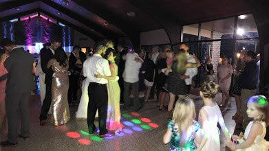 Wedding party with colorful lights