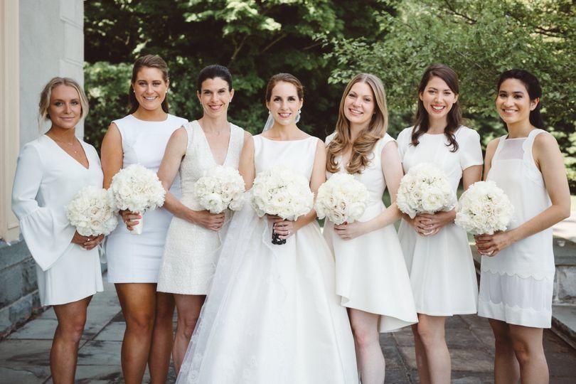 Bride and bridesmaids in white