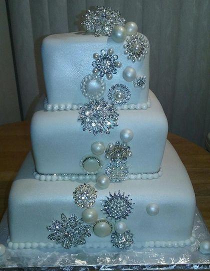 Three Tiered Marshmallow Fondant Square Bling Wedding Cake.