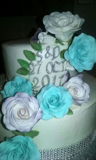 Two Tiered Buttercream with Sugar Paste Flowers.