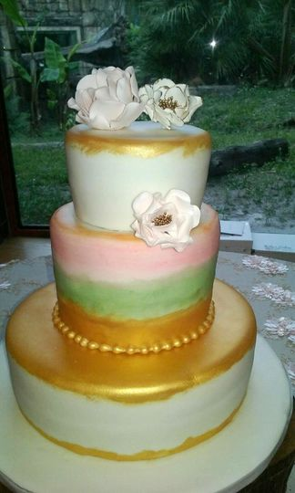 3 Tiered Fondant Round Wedding Cake, w/ Sugar Paste Flowers.