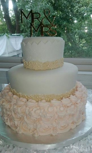 Three Tiered Fondant Wedding Cake With Rossettes & Gold Beading.