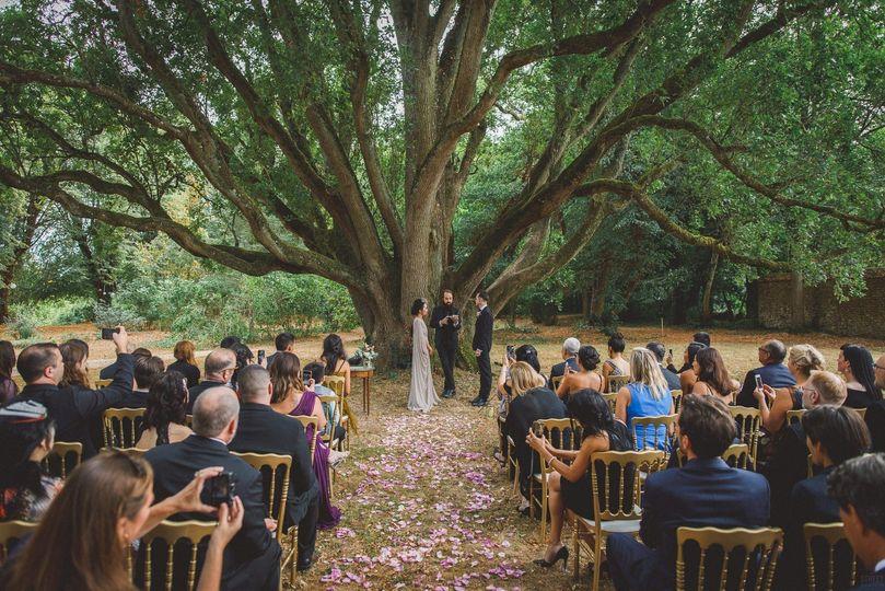 Ceremony under the oak trees