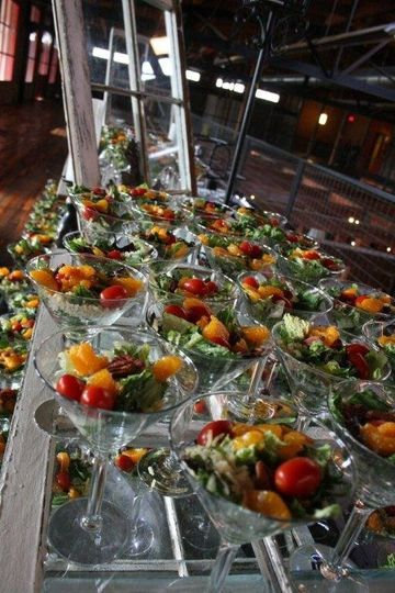 Martini glasses loaded with a beautiful salads gets your party started!