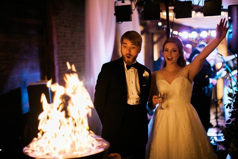 Bride&Groom with Donut Flambe
