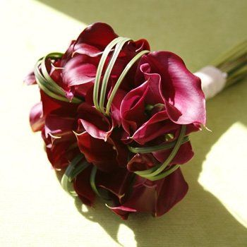 Beautiful deep Red Calla Lilys with grasses twisted inbetween very classical and romatic looking...