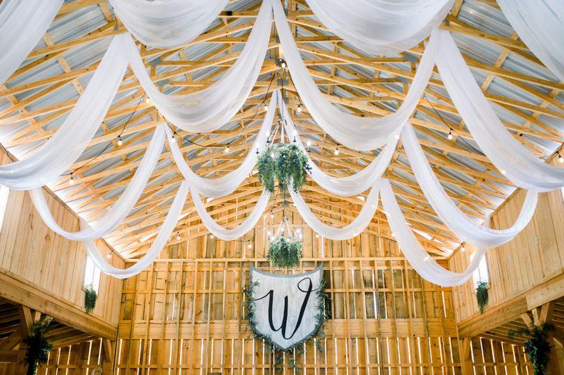 Drapery inside barn
