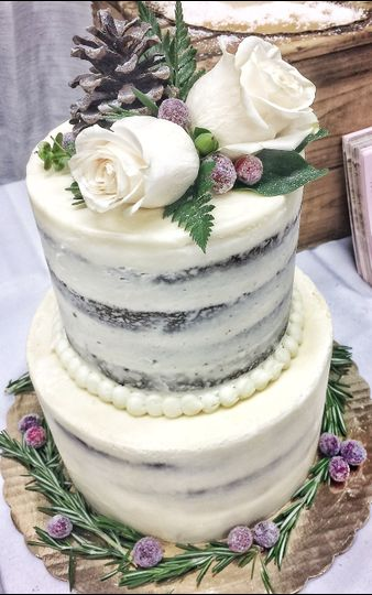 Nearly naked cake with florals