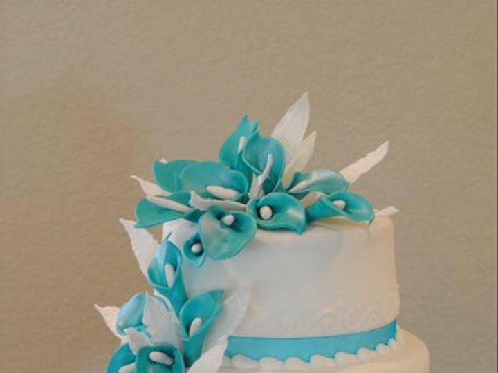 Tmx 1324576225138 TurquoiseCallaLillyCake Springtown, TX wedding cake