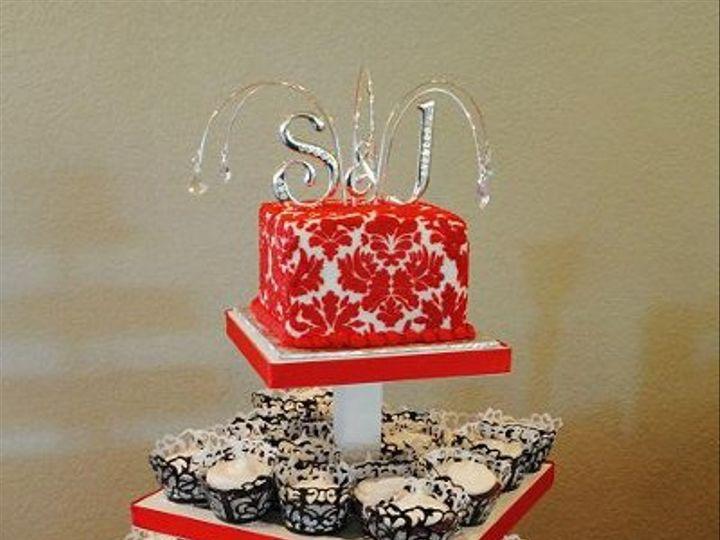 Tmx 1324576276727 BlackandRedDamaskCupcakes Springtown, TX wedding cake