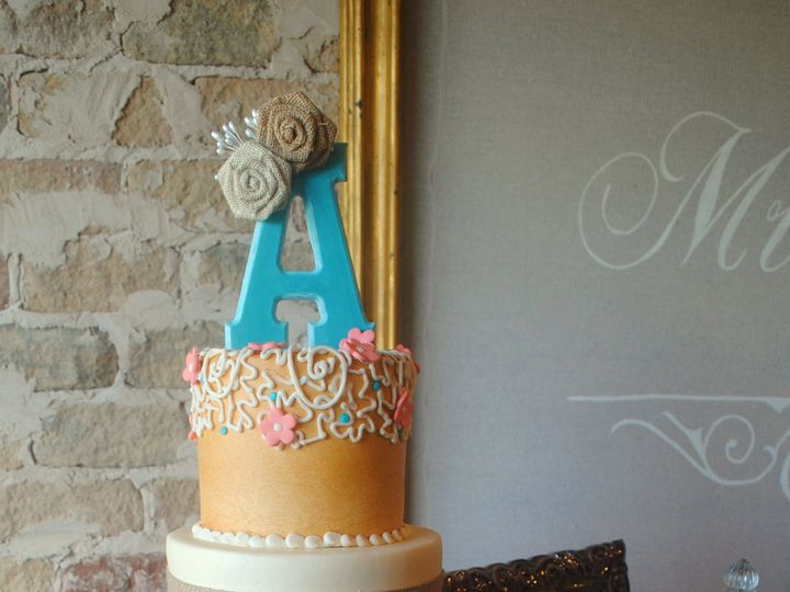 Tmx 1435010404994 Rusticcoralandblueweddingcake Thenathardwayranchwe Springtown, TX wedding cake