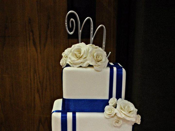 Tmx 1454432631601 Blueandwhiteweddingcake Stripedblueweddingcake Springtown, TX wedding cake