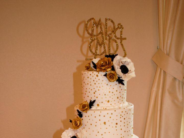 Tmx 1454432638210 Goldblackandwhiteweddingcake Metallicgoldandblackw Springtown, TX wedding cake