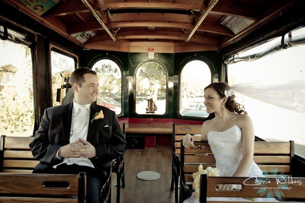 Bride and groom in the trolley