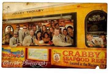 Newlyweds and their guests in the Jolley Trolley