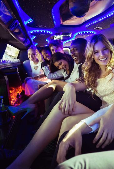Group in the limo