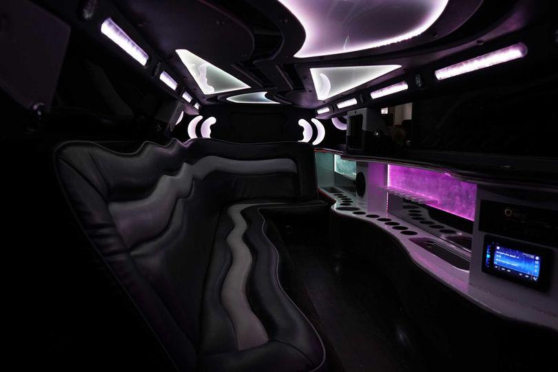 Spacious interior of limousine