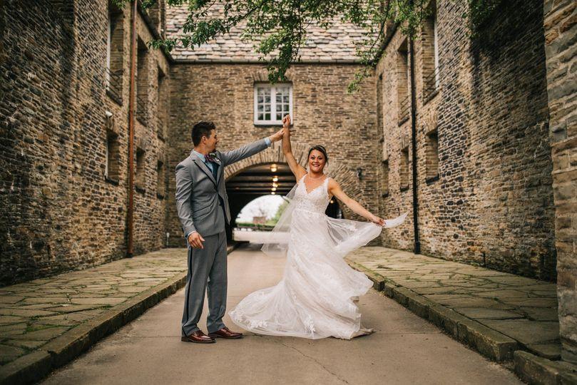 Wedding dress twirls.