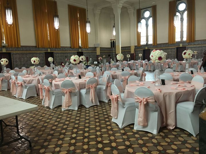 Reception hall with pink decor