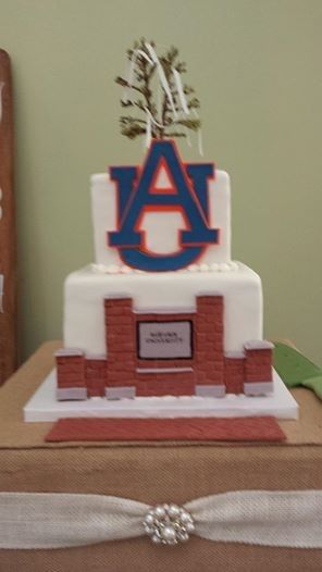"Two-tier Auburn Groom's Cake with ""brick wall"""