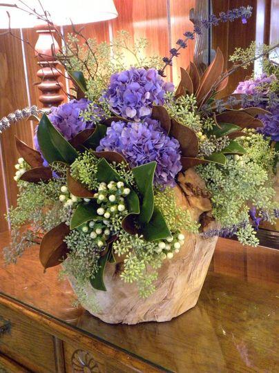 Lavender hydrangea flower arrangement