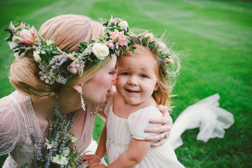 Bride and her flowergirl