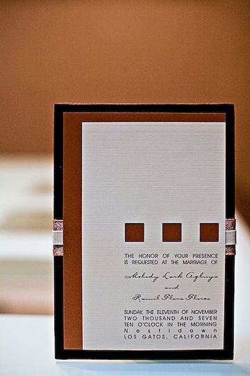 Die-cut squares sound of a modern and chic event. The chocolate silk invitation is finished with...