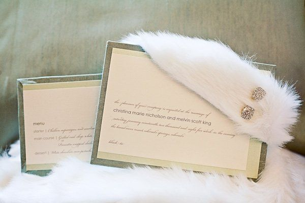 Seafoam dupioni silk creates a wintery mint invitation. A luxurious faux mink wrap with glimmering...
