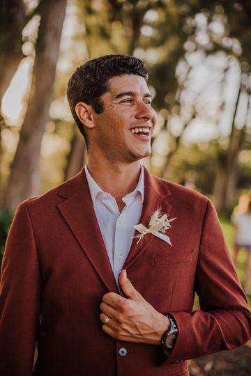 Wedding portrait in red suit