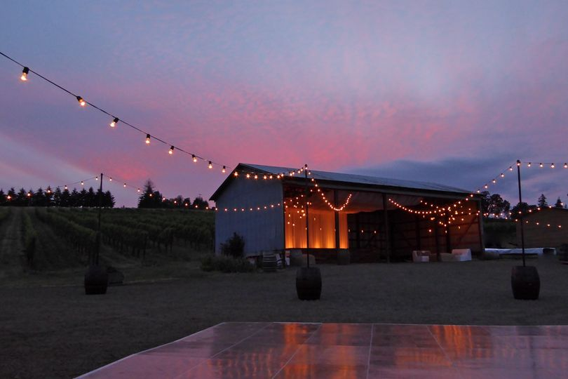 When a farm wedding hits golden hour, we shine!  Using our custom finished wine barrel stands, we...