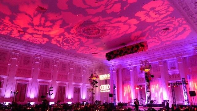 Draped in Roses and elegant pink uplight, this venue absolutely slayed it!