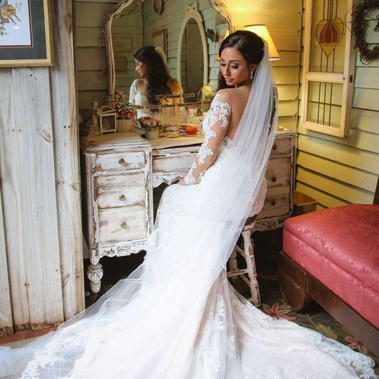 Bridal photo by a dresser
