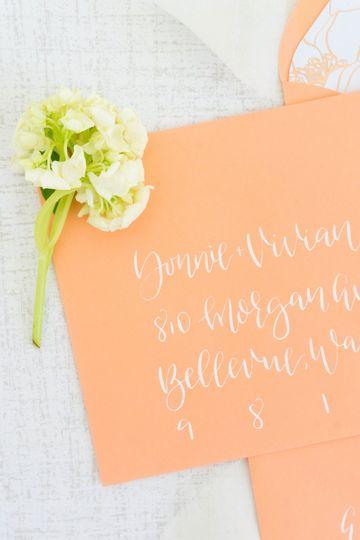 Coral envelope + white ink