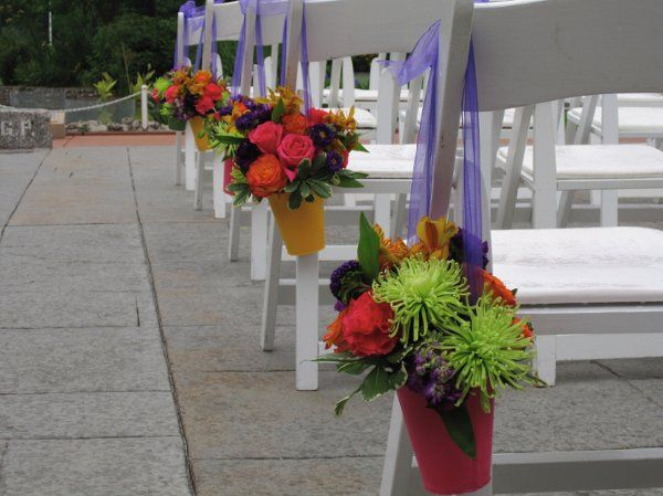 Pew flowers can double as table flowers!