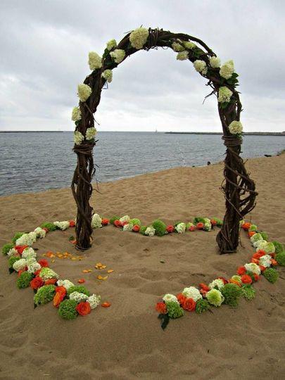 Beach Wedding, heart in the sand. Plum Island Beach Plum Newburyport