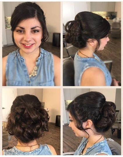 bridesmaid bridal curly updo hair style