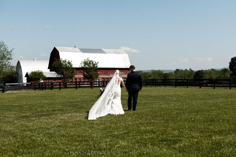 Bride and groom in the paddock