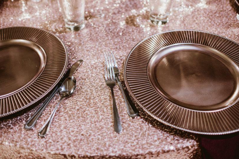 Sequin linen table set
