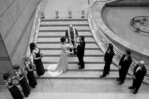 bridal party ceremony atrium