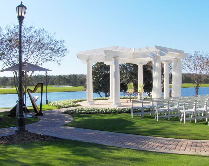 Waterfront gazebo wedding setup