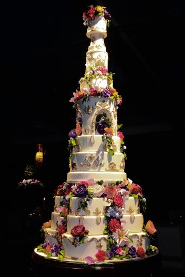Tall wedding cake with floral design
