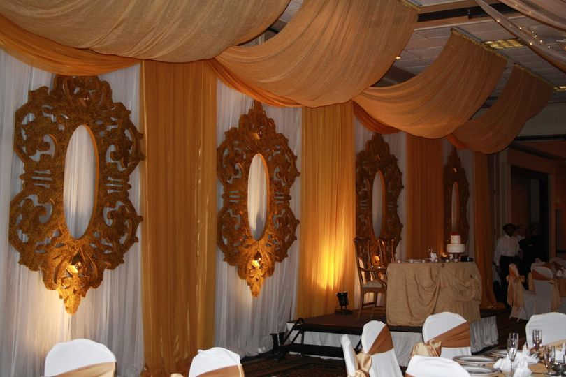 Gold drapes and frames
