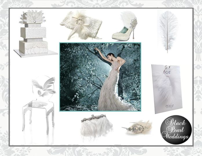 black pearl feathers mood board