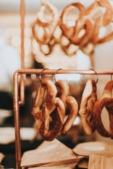 Copper pretzel holder