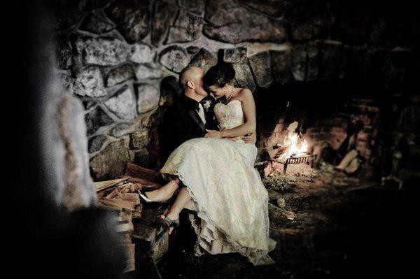 Warming up inside Blue Water Manor's beautiful stone fireplace.